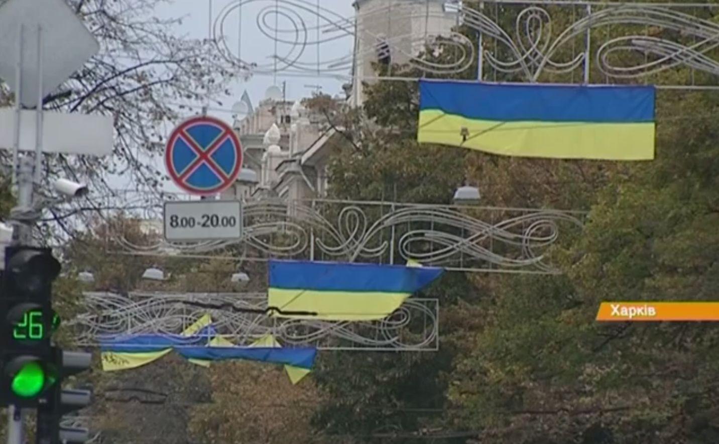 Как ночью в Харькове избавлялись от флагов Украины. Видео