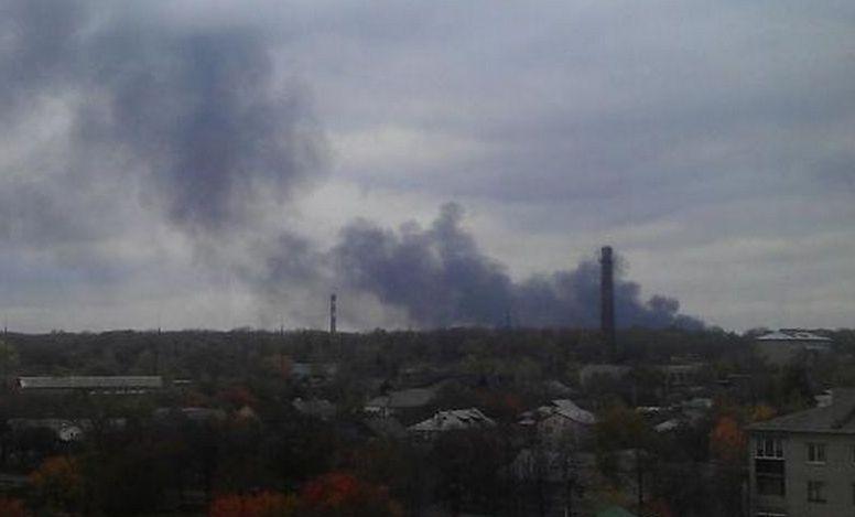Пожар в Донецке зафиксирован очевидцами. Фото