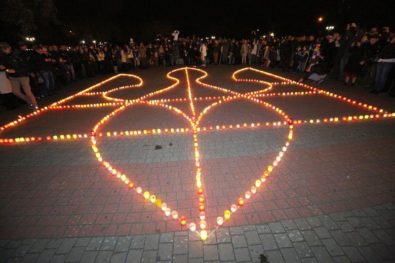 В Запорожье зажгли герб Украины. Фото