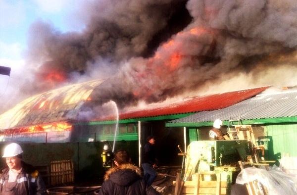 На окраине Киева сгорела станция техоблуживания с автомобилями. Видео